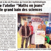 M&L workshop of Briançon participated in the maths forum (Aix, France, 2500 participants)